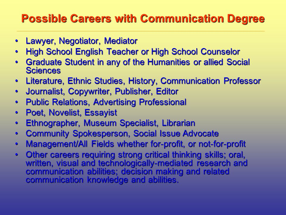 Possible Careers with Communication Degree Lawyer, Negotiator, MediatorLawyer, Negotiator, Mediator High School English Teacher or High School CounselorHigh School English Teacher or High School Counselor Graduate Student in any of the Humanities or allied Social SciencesGraduate Student in any of the Humanities or allied Social Sciences Literature, Ethnic Studies, History, Communication ProfessorLiterature, Ethnic Studies, History, Communication Professor Journalist, Copywriter, Publisher, EditorJournalist, Copywriter, Publisher, Editor Public Relations, Advertising ProfessionalPublic Relations, Advertising Professional Poet, Novelist, EssayistPoet, Novelist, Essayist Ethnographer, Museum Specialist, LibrarianEthnographer, Museum Specialist, Librarian Community Spokesperson, Social Issue AdvocateCommunity Spokesperson, Social Issue Advocate Management/All Fields whether for-profit, or not-for-profitManagement/All Fields whether for-profit, or not-for-profit Other careers requiring strong critical thinking skills; oral, written, visual and technologically-mediated research and communication abilities; decision making and related communication knowledge and abilities.Other careers requiring strong critical thinking skills; oral, written, visual and technologically-mediated research and communication abilities; decision making and related communication knowledge and abilities.