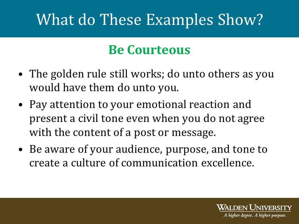What do These Examples Show? Be Courteous The golden rule still works; do unto others as you would have them do unto you. Pay attention to your emotio