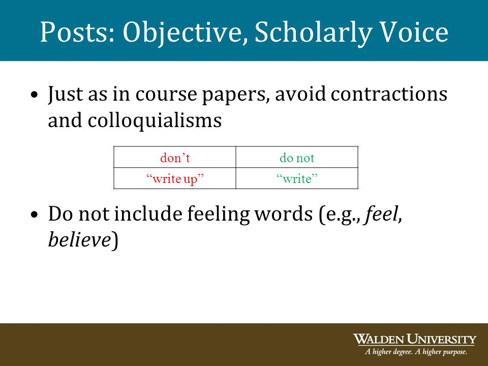 Posts: Objective, Scholarly Voice Just as in course papers, avoid contractions and colloquialisms Do not include feeling words (e.g., feel, believe) d