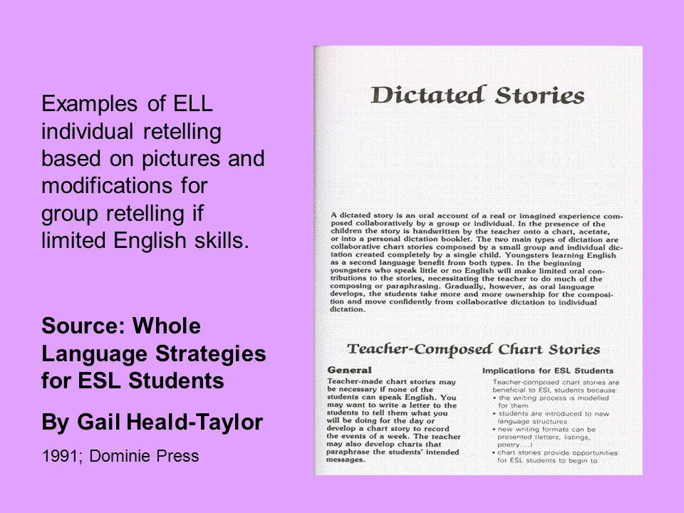 Source: Whole Language Strategies for ESL Students By Gail Heald-Taylor 1991; Dominie Press Examples of ELL individual retelling based on pictures and modifications for group retelling if limited English skills.