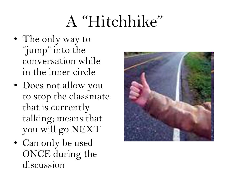 A Hitchhike The only way to jump into the conversation while in the inner circle Does not allow you to stop the classmate that is currently talking; means that you will go NEXT Can only be used ONCE during the discussion