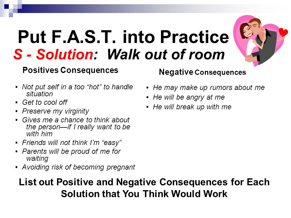 """Put F.A.S.T. into Practice ▪ Not put self in a too """"hot"""" to handle situation ▪ Get to cool off ▪ Preserve my virginity ▪ Gives me a chance to think ab"""
