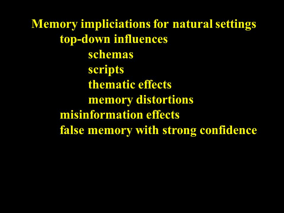 Top-down influences thematic effects intitial information (e.g.