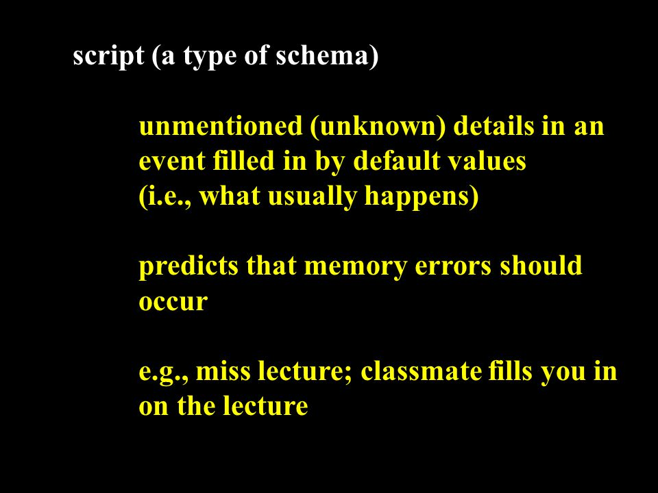 script (a type of schema) predicts that memory errors should occur e.g., miss lecture; classmate fills you in on the lecture Did Jones have a demonstration in his lecture?