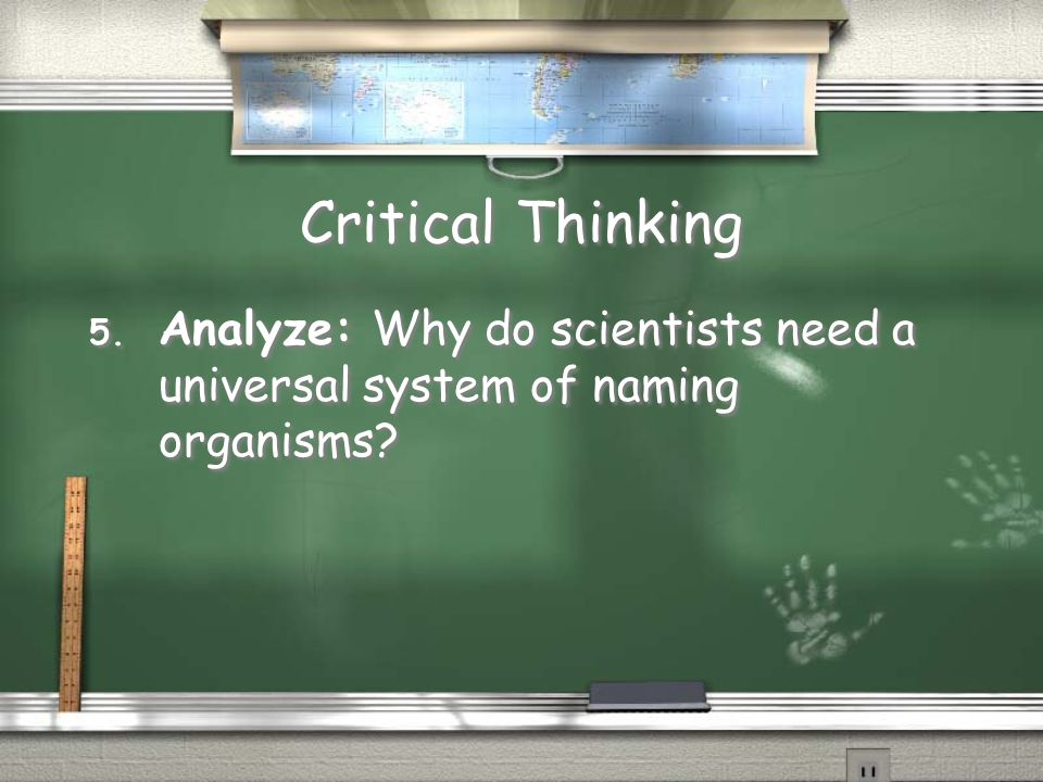 Critical Thinking 5. Analyze: Why do scientists need a universal system of naming organisms?