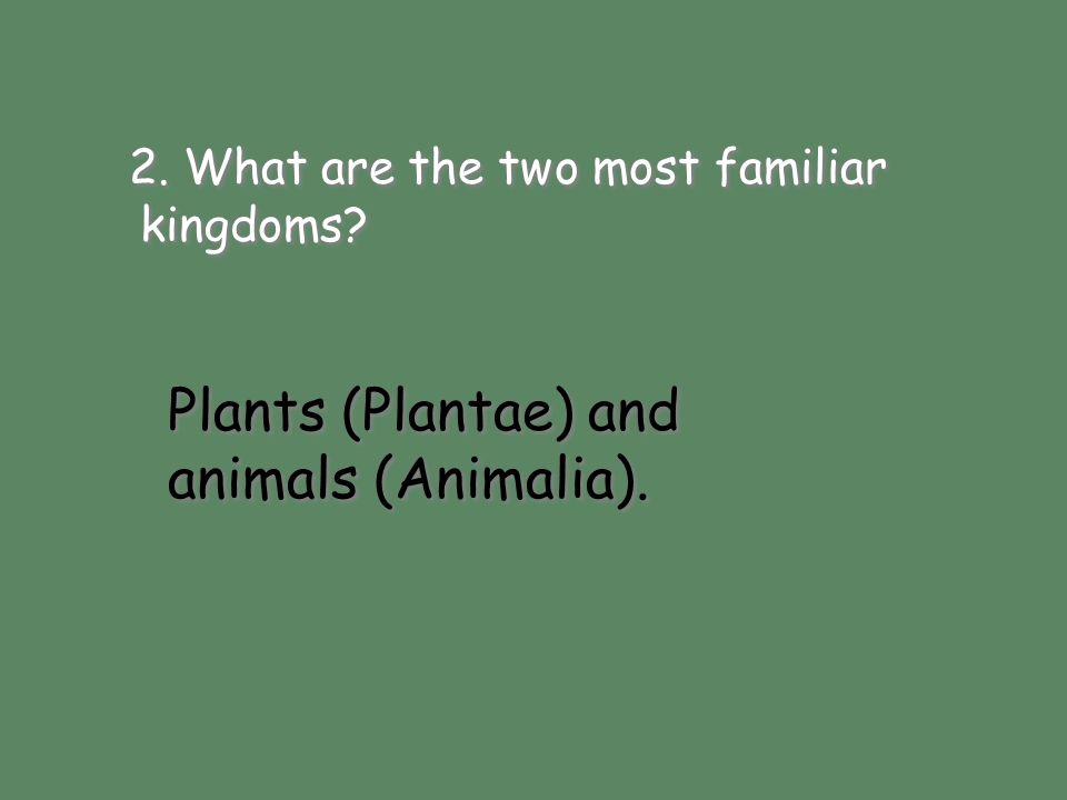 Plants (Plantae) and animals (Animalia). 2. What are the two most familiar kingdoms? Plants (Plantae) and animals (Animalia).