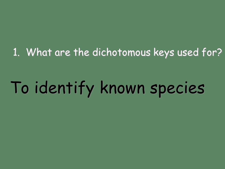 To identify known species 1. What are the dichotomous keys used for? To identify known species