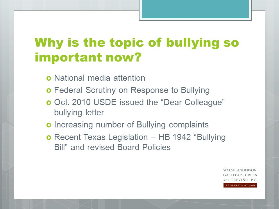 Student transfer as a means of addressing bullying Victims of bullying have the right to request a transfer to another classroom or a different campus.