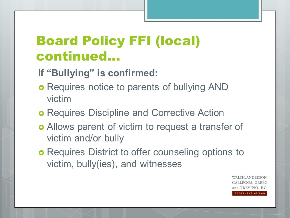 Juanita's dad calls the Principal several times to discuss alleged bullying by a classmate, Andrew, on the playground.