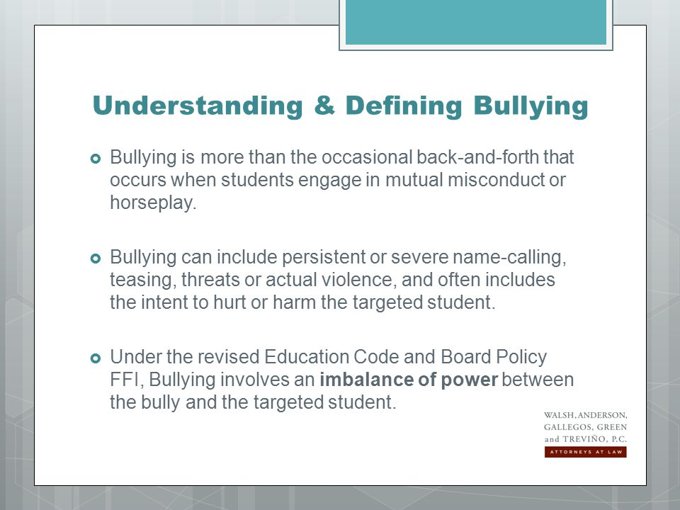 Receiving Notice of Alleged Bullying  A student may notify a teacher, counselor, principal, or other district employee  Any district employee so notified or who otherwise receives information that a student has or may have engaged in bullying must immediately notify the campus principal or designee orally or in writing  In turn, the principal or the principal's designee must put any oral complaint of bullying in writing
