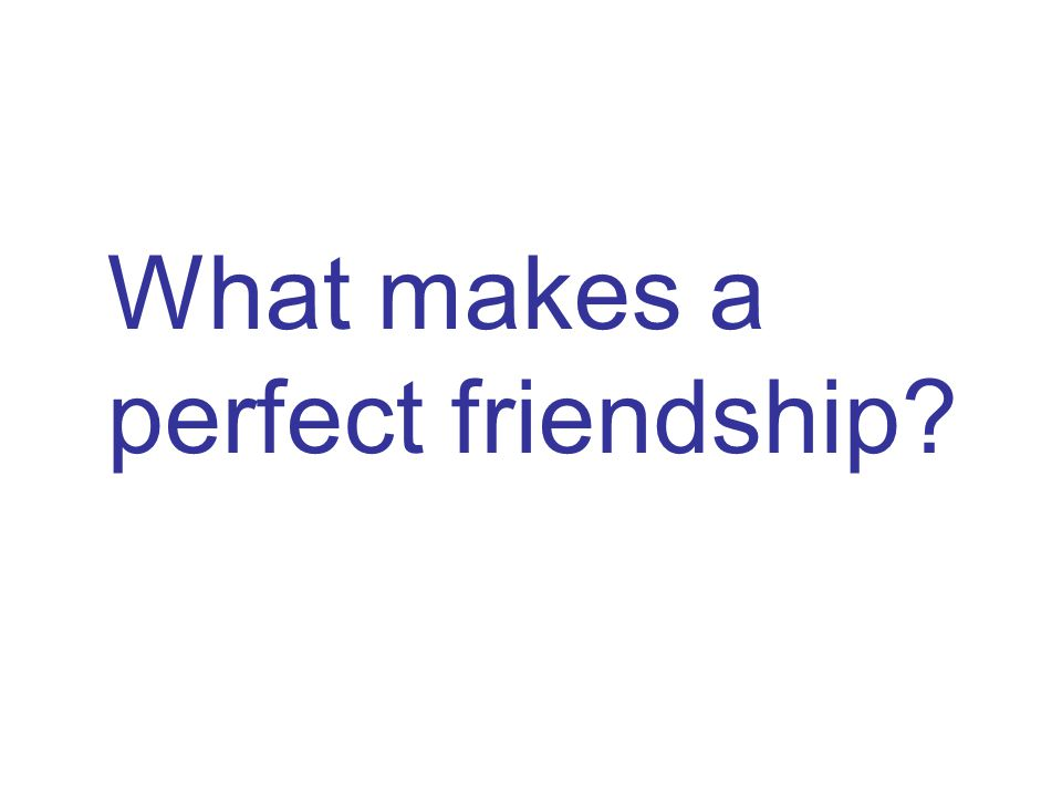 What makes a perfect friendship