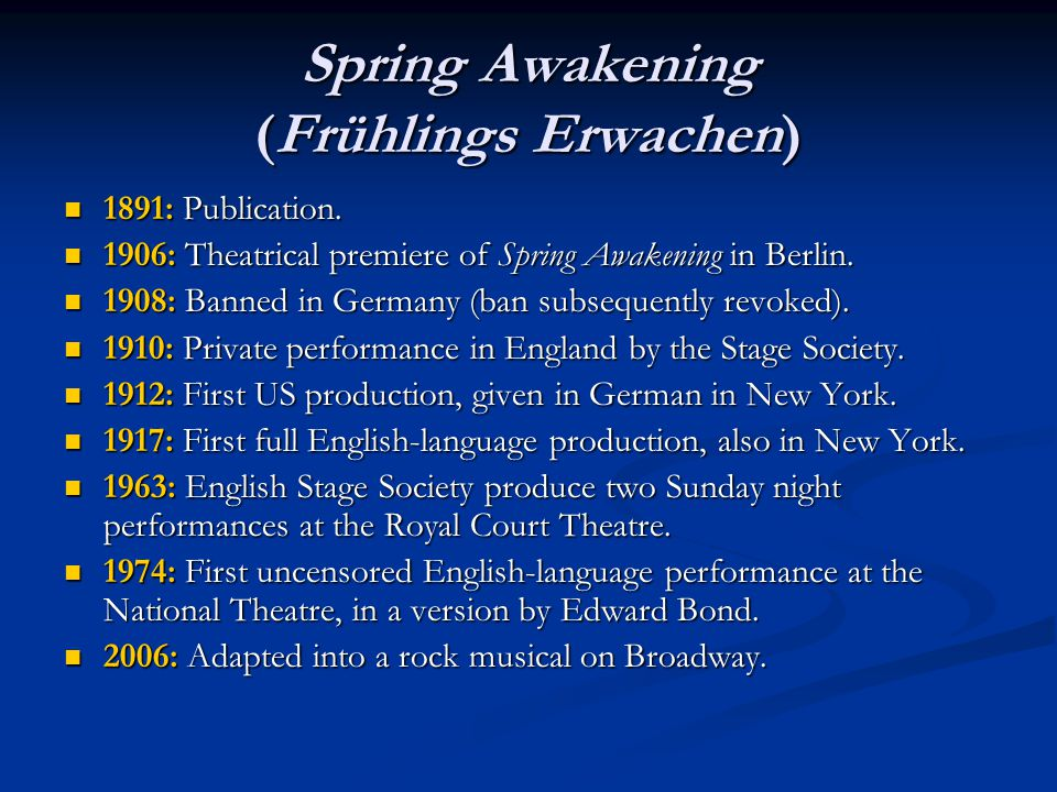 Spring Awakening (Frühlings Erwachen) 1891: Publication.