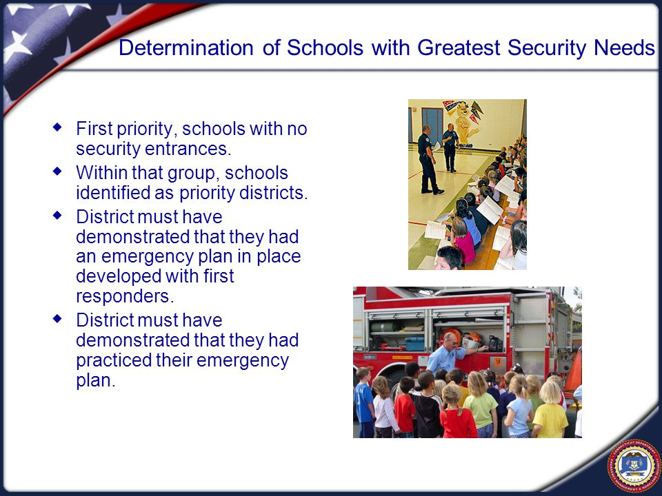 Determination of Schools with Greatest Security Needs  First priority, schools with no security entrances.