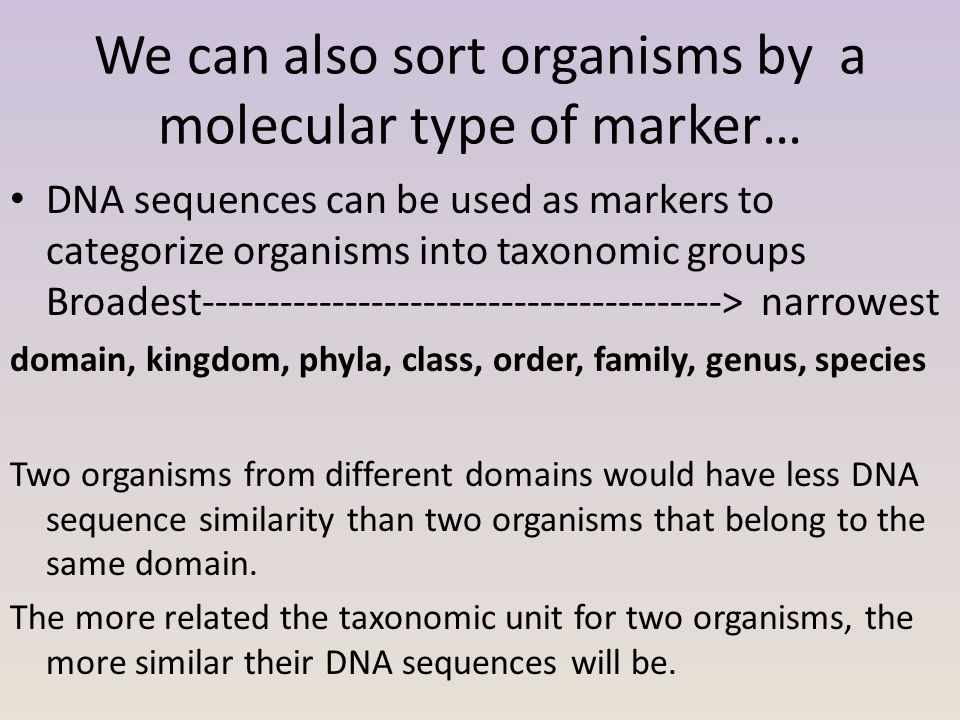 We can also sort organisms by a molecular type of marker… DNA sequences can be used as markers to categorize organisms into taxonomic groups Broadest-