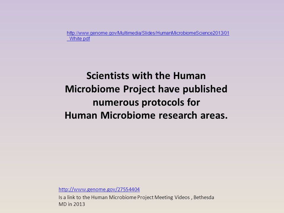 Scientists with the Human Microbiome Project have published numerous protocols for Human Microbiome research areas. http://www.genome.gov/27554404 Is