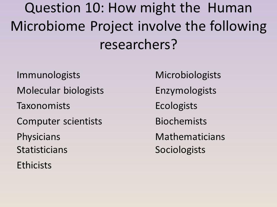 Question 10: How might the Human Microbiome Project involve the following researchers.