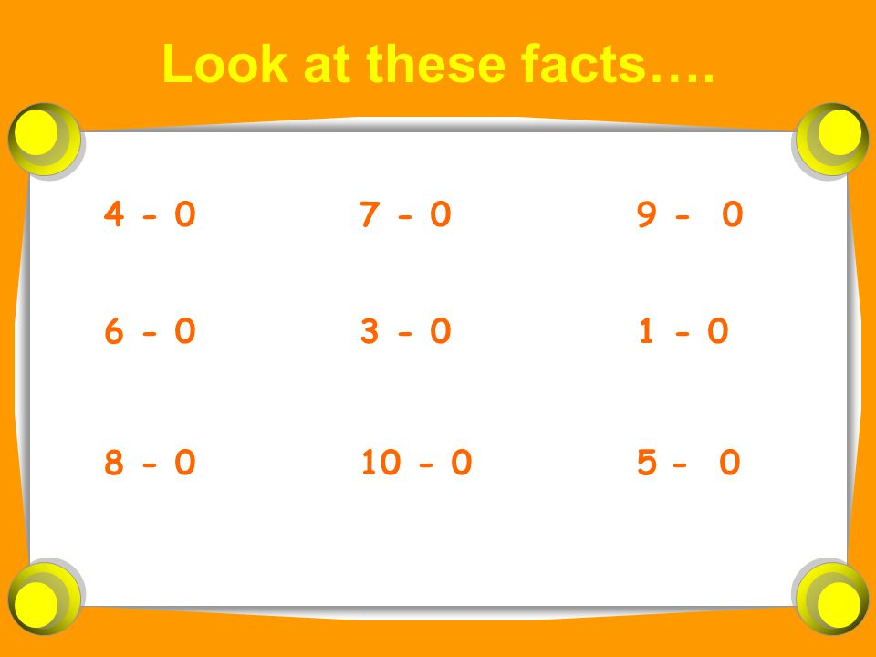 Look at these facts…. 4 - 0 8 - 0 6 - 0 9 - 0 5- 0 1 - 0 7 - 0 10 - 0 3 - 0