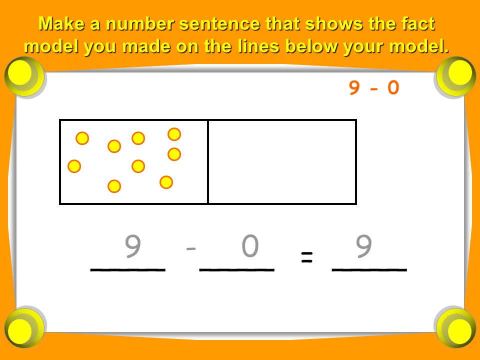Make a number sentence that shows the fact model you made on the lines below your model.