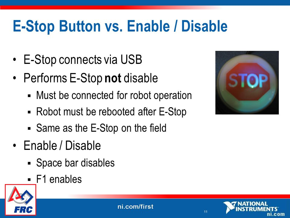 11 E-Stop Button vs.