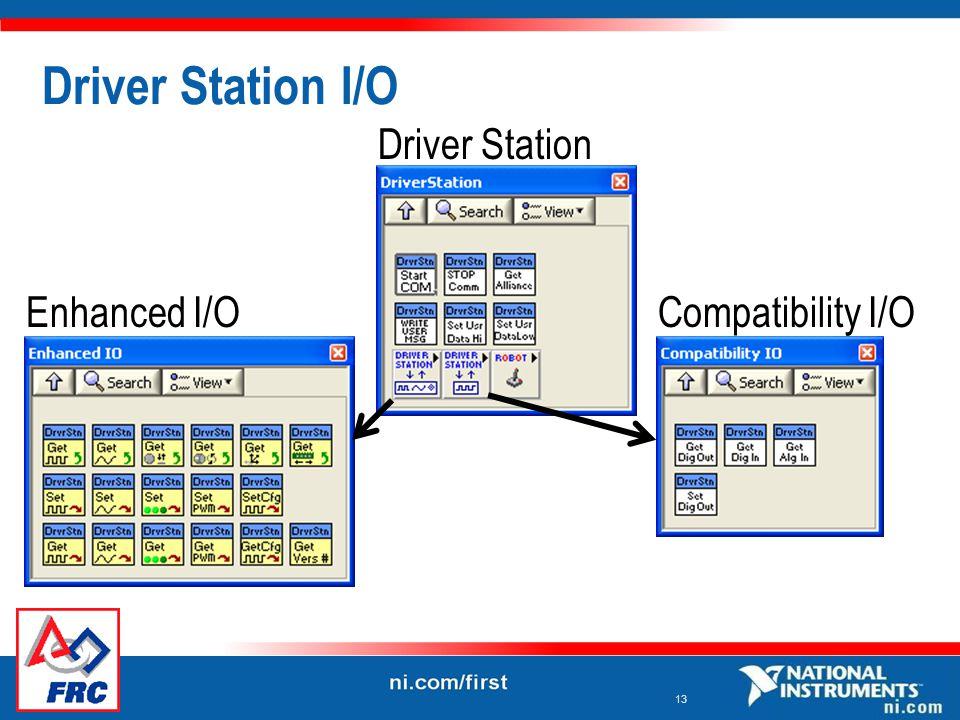 13 Driver Station I/O Driver Station Compatibility I/OEnhanced I/O