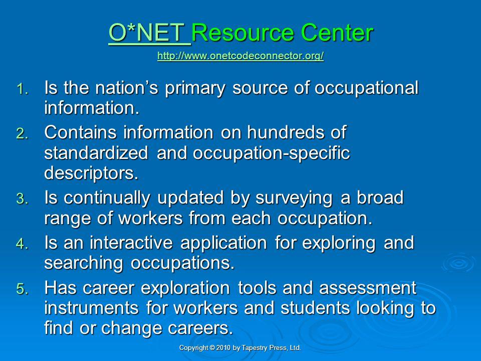 O*NET O*NET Resource Center http://www.onetcodeconnector.org/ http://www.onetcodeconnector.org/ O*NET http://www.onetcodeconnector.org/ 1. Is the nati