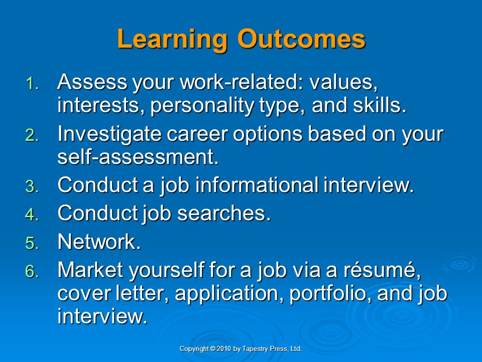Learning Outcomes 1. Assess your work-related: values, interests, personality type, and skills. 2. Investigate career options based on your self-asses