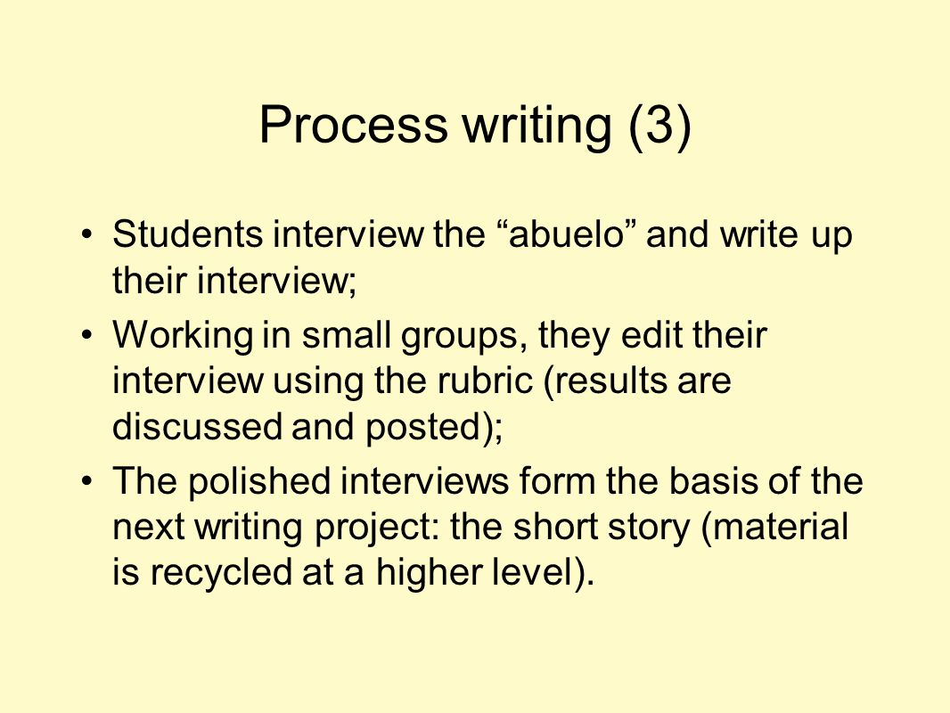 """Process writing (3) Students interview the """"abuelo"""" and write up their interview; Working in small groups, they edit their interview using the rubric"""