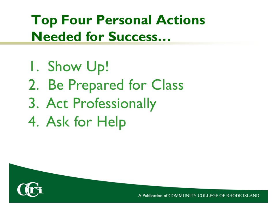 Top Four Personal Actions Needed for Success… 1.Show Up.