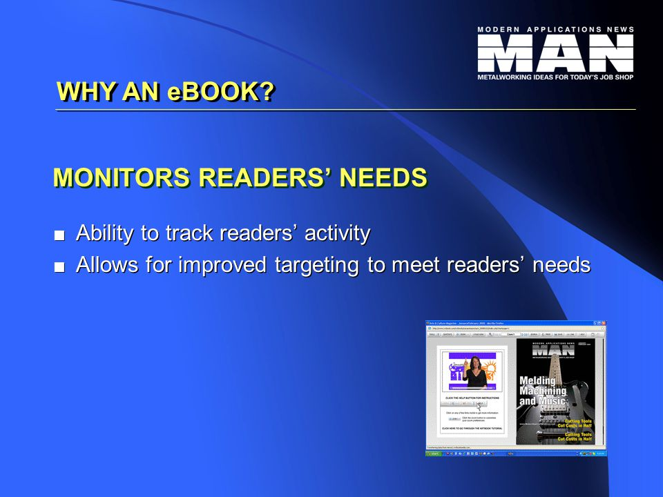 MONITORS READERS' NEEDS   Ability to track readers' activity   Allows for improved targeting to meet readers' needs   Ability to track readers' activity   Allows for improved targeting to meet readers' needs WHY AN eBOOK