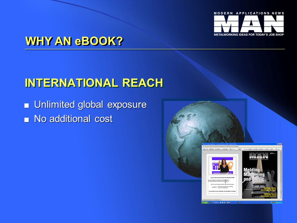 INTERNATIONAL REACH   Unlimited global exposure   No additional cost   Unlimited global exposure   No additional cost WHY AN eBOOK?