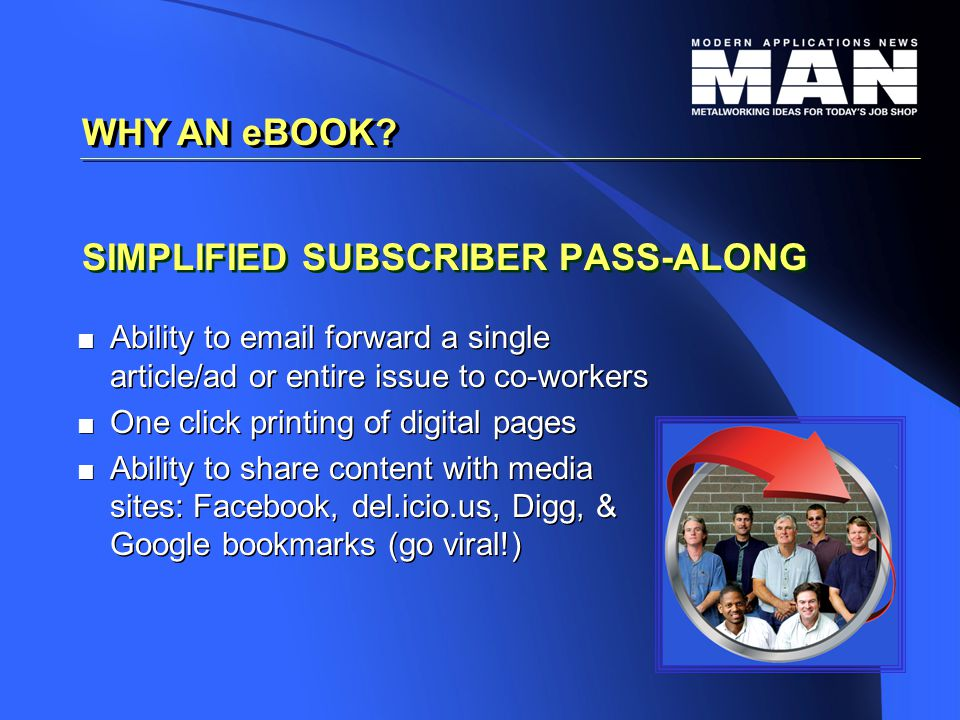 SIMPLIFIED SUBSCRIBER PASS-ALONG   Ability to email forward a single article/ad or entire issue to co-workers   One click printing of digital pages   Ability to share content with media sites: Facebook, del.icio.us, Digg, & Google bookmarks (go viral!)   Ability to email forward a single article/ad or entire issue to co-workers   One click printing of digital pages   Ability to share content with media sites: Facebook, del.icio.us, Digg, & Google bookmarks (go viral!) WHY AN eBOOK?