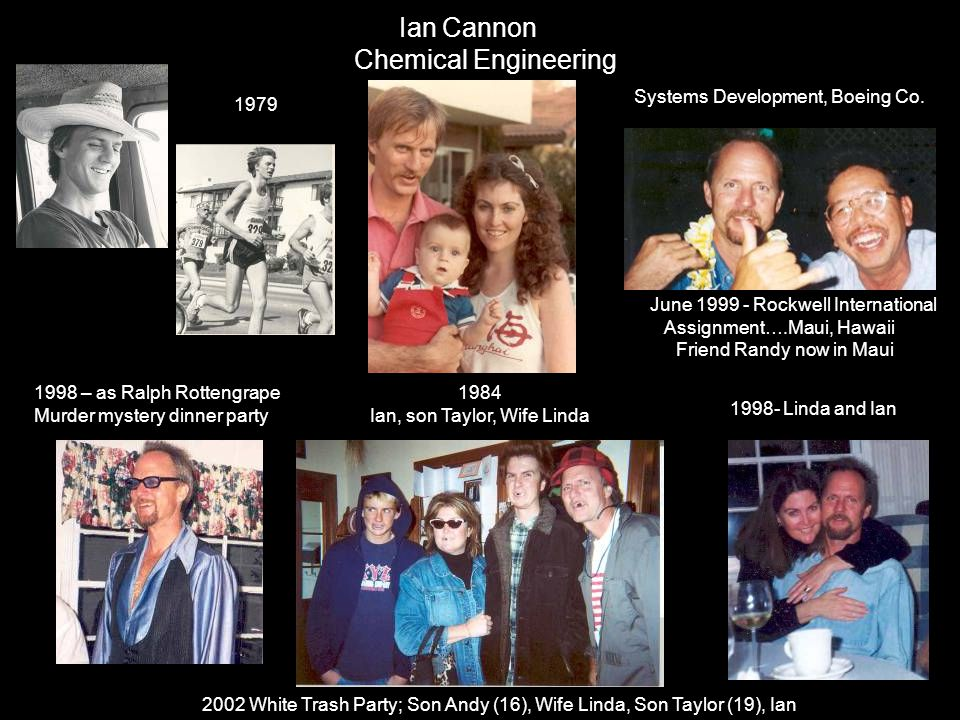 Ian Cannon Chemical Engineering 1979 1998 – as Ralph Rottengrape Murder mystery dinner party June 1999 - Rockwell International Assignment….Maui, Hawa