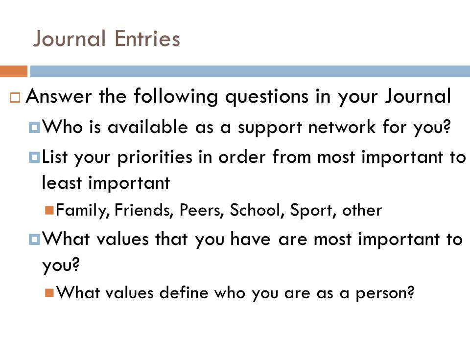 Journal Entries  Answer the following questions in your Journal  Who is available as a support network for you.