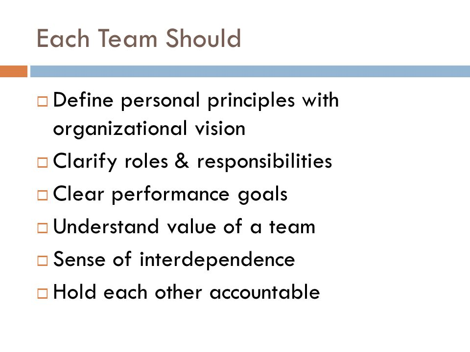 Each Team Should  Define personal principles with organizational vision  Clarify roles & responsibilities  Clear performance goals  Understand value of a team  Sense of interdependence  Hold each other accountable