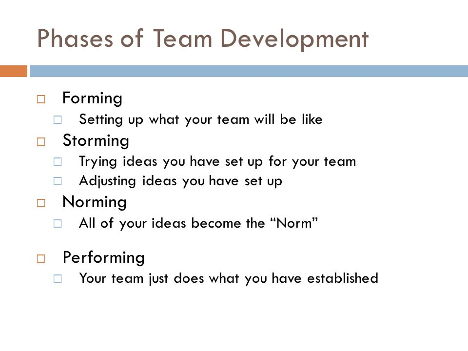 Phases of Team Development  Forming  Setting up what your team will be like  Storming  Trying ideas you have set up for your team  Adjusting ideas you have set up  Norming  All of your ideas become the Norm  Performing  Your team just does what you have established