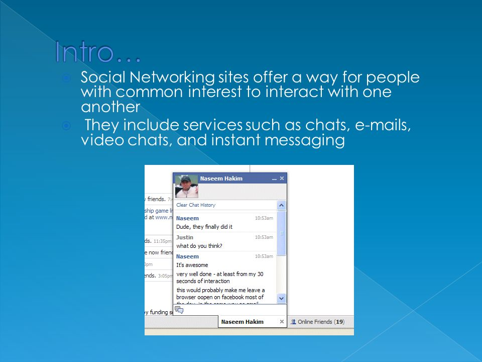  Social Networking sites offer a way for people with common interest to interact with one another  They include services such as chats, e-mails, video chats, and instant messaging