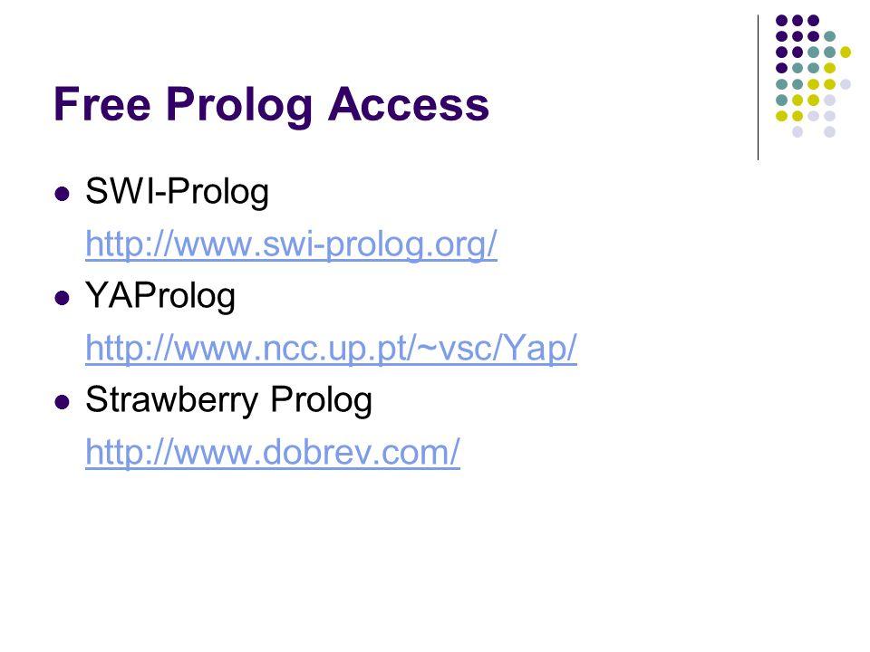 Free Prolog Access SWI-Prolog http://www.swi-prolog.org/ YAProlog http://www.ncc.up.pt/~vsc/Yap/ Strawberry Prolog http://www.dobrev.com/
