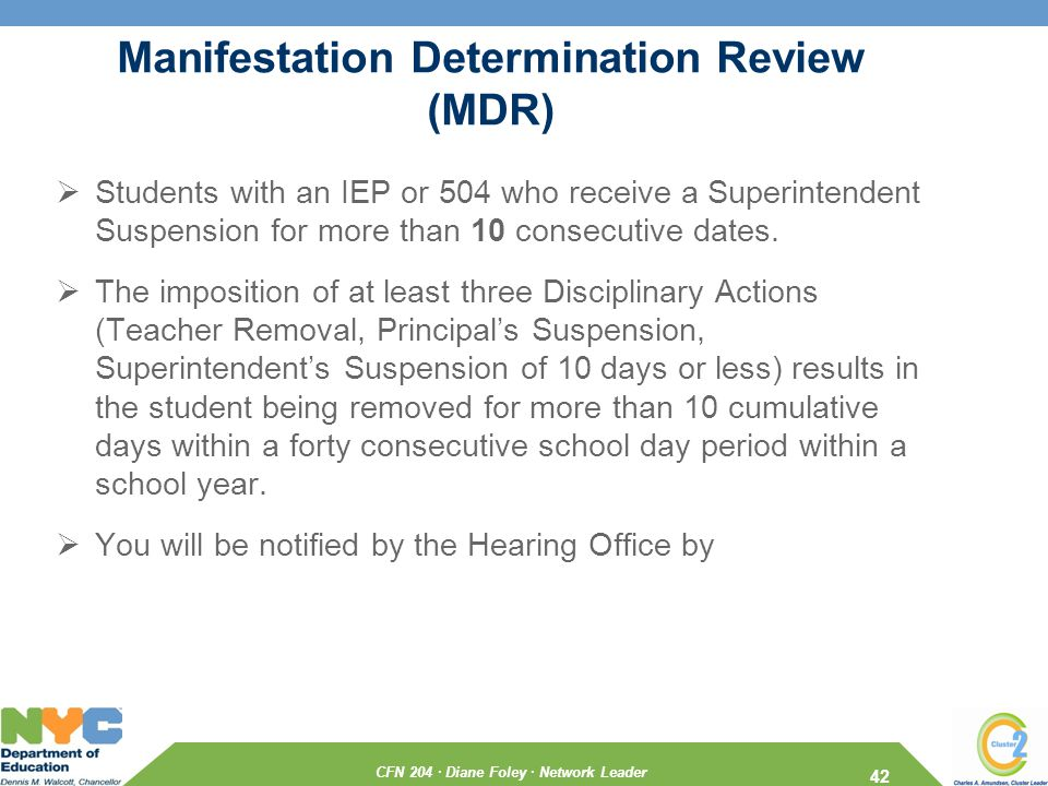 CFN 204 · Diane Foley · Network Leader Manifestation Determination Review (MDR)  Students with an IEP or 504 who receive a Superintendent Suspension for more than 10 consecutive dates.