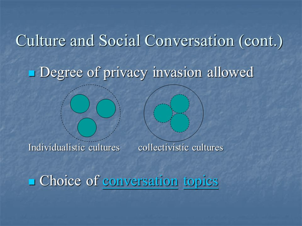 Culture and Social Conversation (cont.) Degree of privacy invasion allowed Degree of privacy invasion allowed Individualistic cultures collectivistic cultures Choice of conversation topics Choice of conversation topicsconversationtopicsconversationtopics