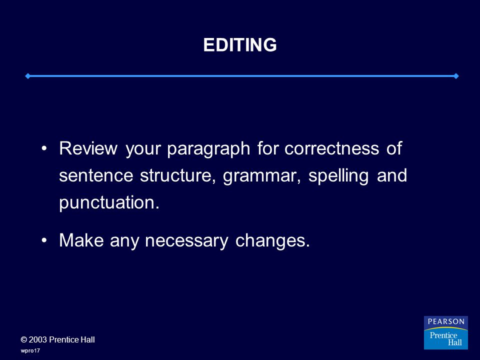 © 2003 Prentice Hall wpro17 EDITING Review your paragraph for correctness of sentence structure, grammar, spelling and punctuation.