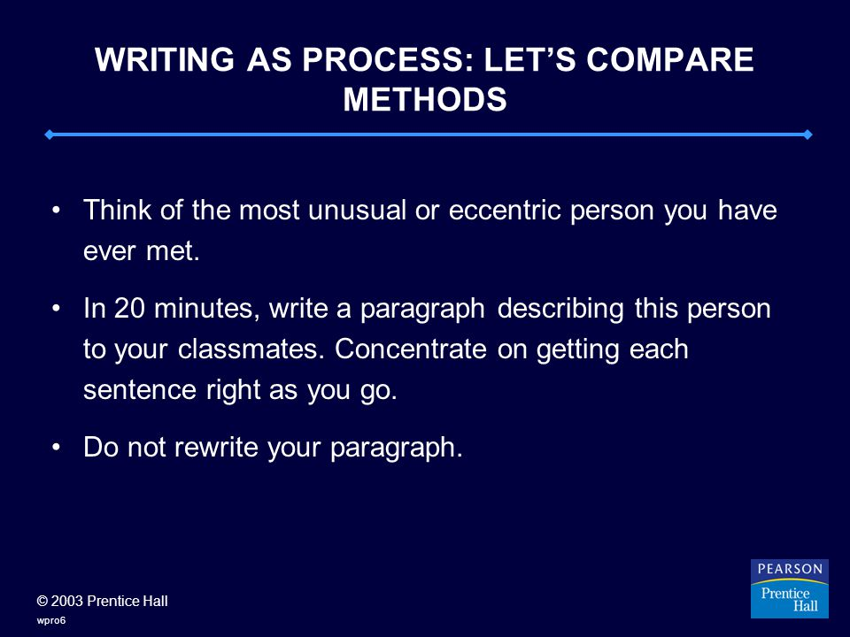© 2003 Prentice Hall wpro6 WRITING AS PROCESS: LET'S COMPARE METHODS Think of the most unusual or eccentric person you have ever met.