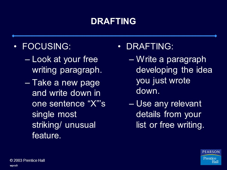 © 2003 Prentice Hall wpro9 DRAFTING FOCUSING: –Look at your free writing paragraph.