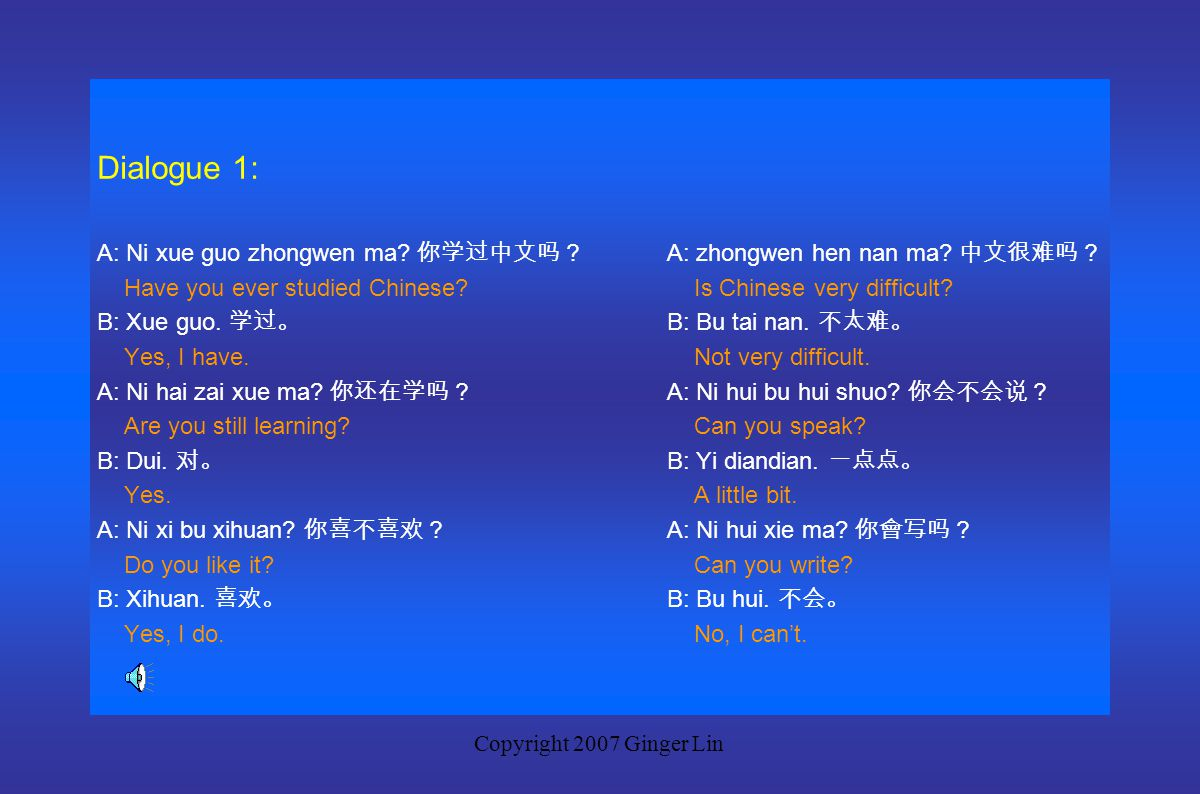 Copyright 2007 Ginger Lin Part 1 New Words verb + guo 过 have + past participle he 和 with, and