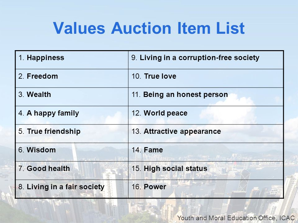 Youth and Moral Education Office, ICAC Values Auction Item List 1.