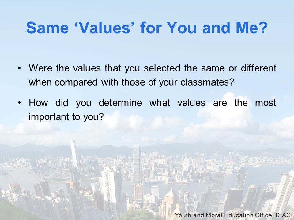 Youth and Moral Education Office, ICAC Same 'Values' for You and Me.
