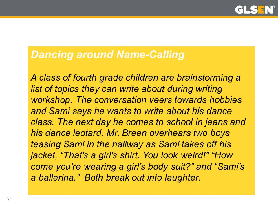 31 Dancing around Name-Calling A class of fourth grade children are brainstorming a list of topics they can write about during writing workshop. The c