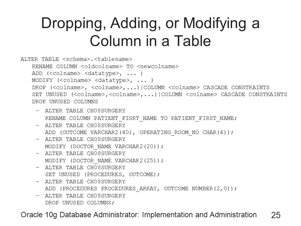 Oracle 10g Database Administrator: Implementation and Administration 25 Dropping, Adding, or Modifying a Column in a Table ALTER TABLE.