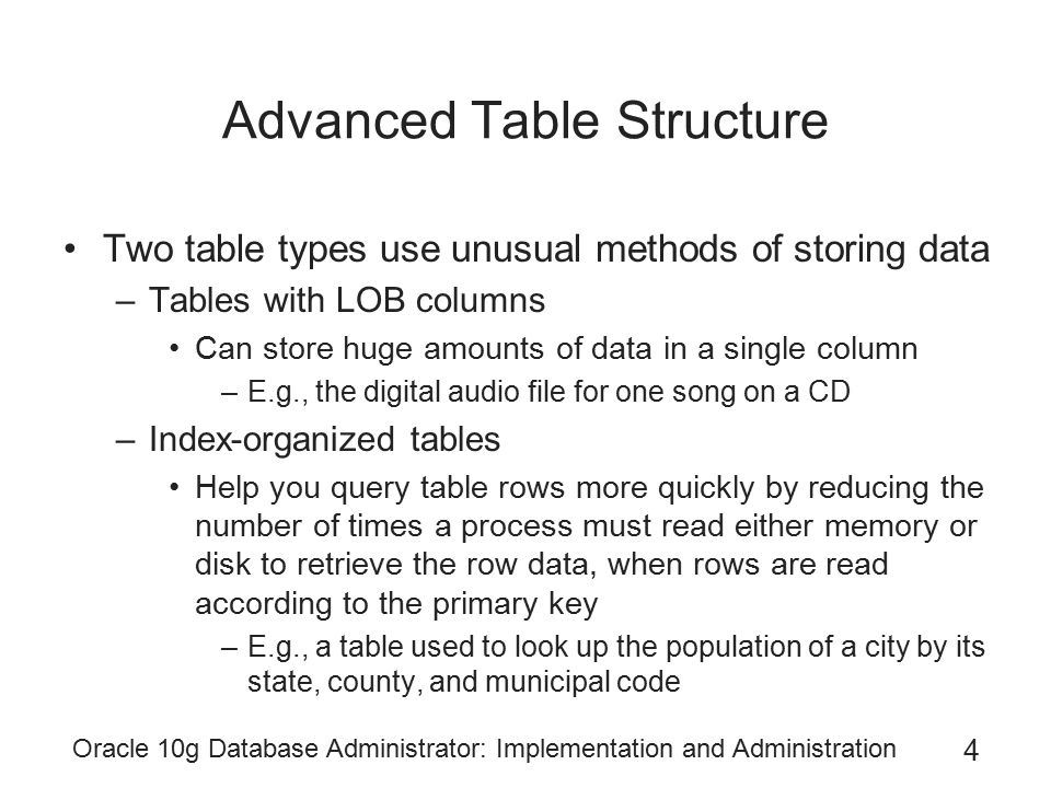 Oracle 10g Database Administrator: Implementation and Administration 35 Summary (continued) Rename a table with ALTER TABLE...