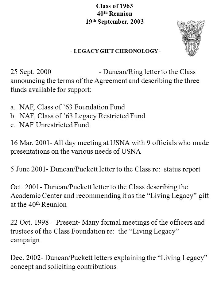 Class of 1963 40 th Reunion 19 th September, 2003 - LEGACY GIFT CHRONOLOGY - 25 Sept. 2000- Duncan/Ring letter to the Class announcing the terms of th