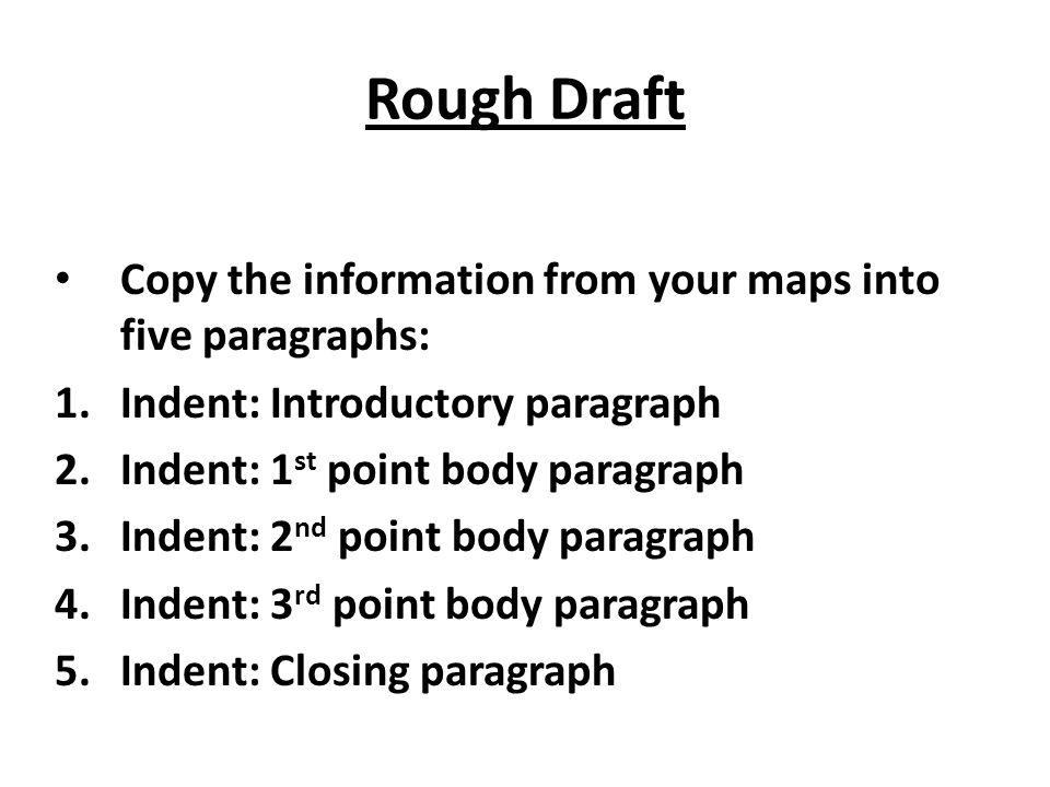 Rough Draft Copy the information from your maps into five paragraphs: 1.Indent: Introductory paragraph 2.Indent: 1 st point body paragraph 3.Indent: 2
